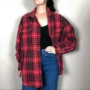 Vintage 1990s Plaid Flannel Shacket Shirt